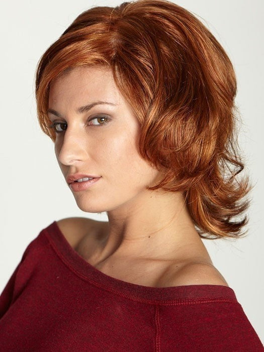 VIRGINIA by Dream USA in SUNSET | Light Auburn (32) blended with Medium Chestnut Brown (6) and with Burgundy (33) frosted with Butterscotch Blonde (88B)