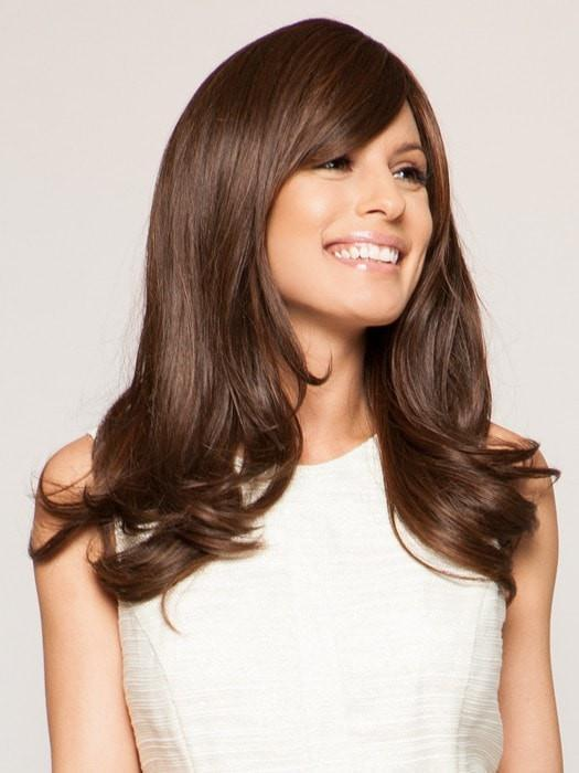 Longer side bang with loosely curled ends | Color: R6/30H