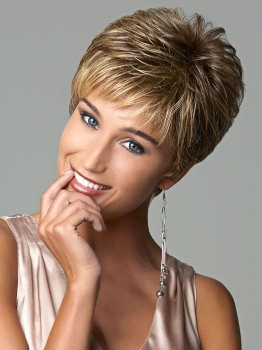 Wispy, feathered bangs for no fuss styling | Color: Brown Blonde