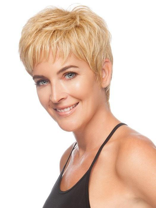 Short jagged bangs frame the face and give coverage | Color: Medium Blonde