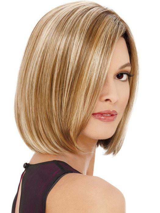 A classic A-line bob with side swept lace part combined with a ready to wear front