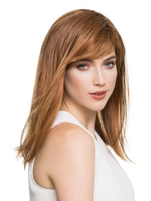 Featuring a full feathered bang and textured ends