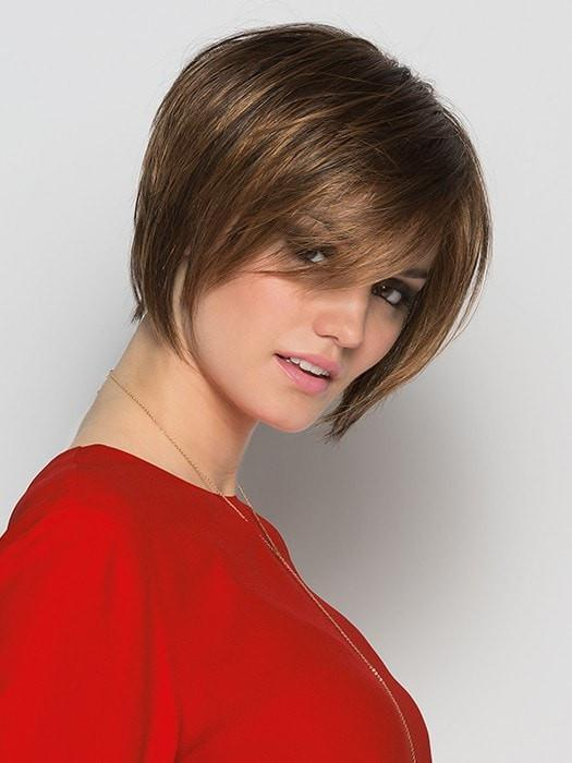 JAVA by Ellen Wille in TOBACCO ROOTED | Medium Brown Base with Light Golden Blonde Highlights and Light Auburn Lowlights and Dark Roots
