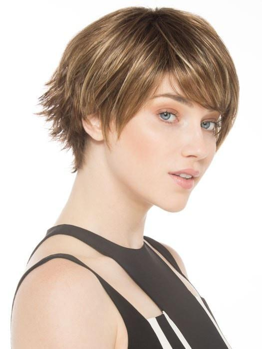SKY by Ellen Wille in TOBACCO ROOTED | Medium Brown Base with Light Golden Blonde Highlights and Light Auburn Lowlights and Dark Roots