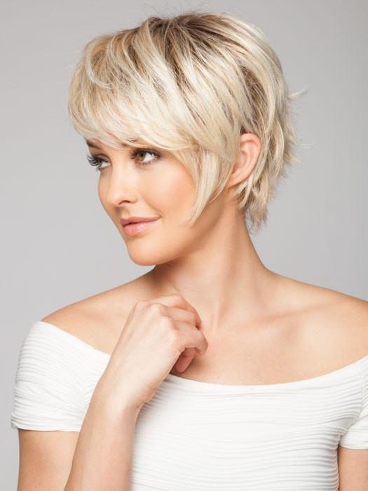 A short asymmetrical style with flared ends in the back