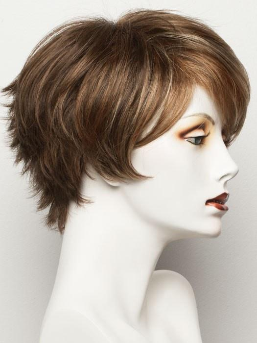 Color Hot-Mocca-Rooted = Medium Brown, Light Brown, and Light Auburn blend with Dark Roots