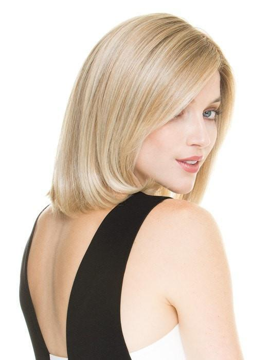 Color CHAMPAGNE-ROOTED = Light Beige Blonde, Medium Honey Blonde, and Platinum Blonde blend with Dark