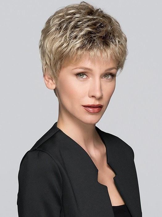 TAB by Ellen Wille in SANDY BLONDE ROOTED | Medium Honey Blonde, Light Ash Blonde, and Lightest Reddish Brown Blend with Dark Roots