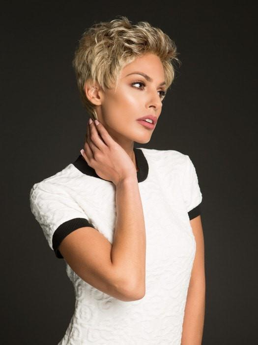 A short, precision cut wig with bold short layers
