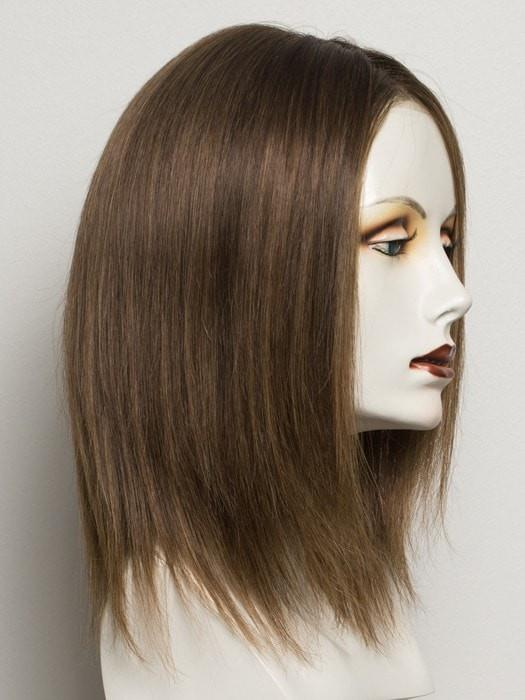 Color Mocca/Rooted=Medium Brown, Light Brown, and Light Auburn blend and Dark Roots