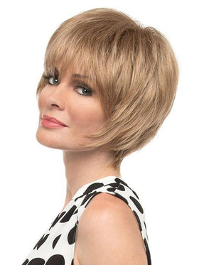 Cassandra by Envy | A flattering short style with tons of face framing fringe. | Color: Dark Blonde