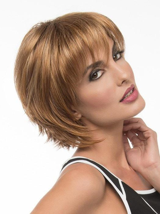 DELANEY Wig by Envy in CREAMED COFFEE | Medium Brown roots and base with Cinnamon and Golden Blonde highlights
