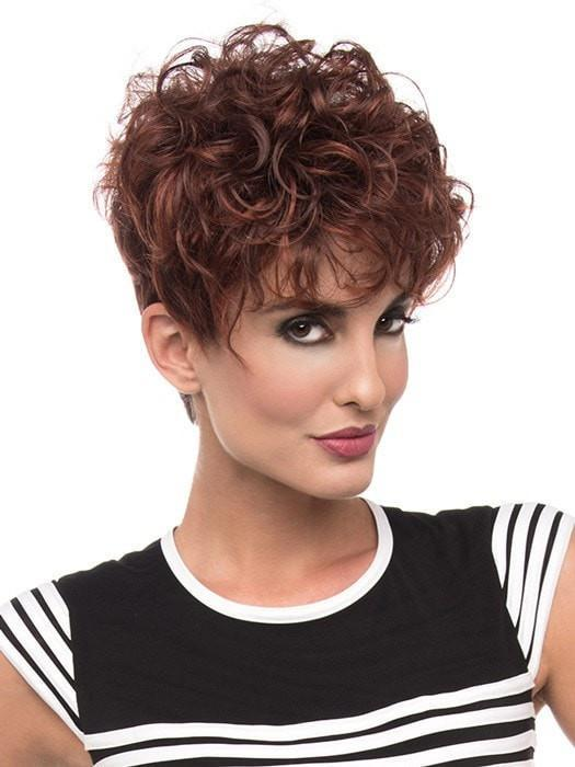 KAITLYN Wig by Envy in 33/32 DARK RED | Auburn with Brighter Red highlights