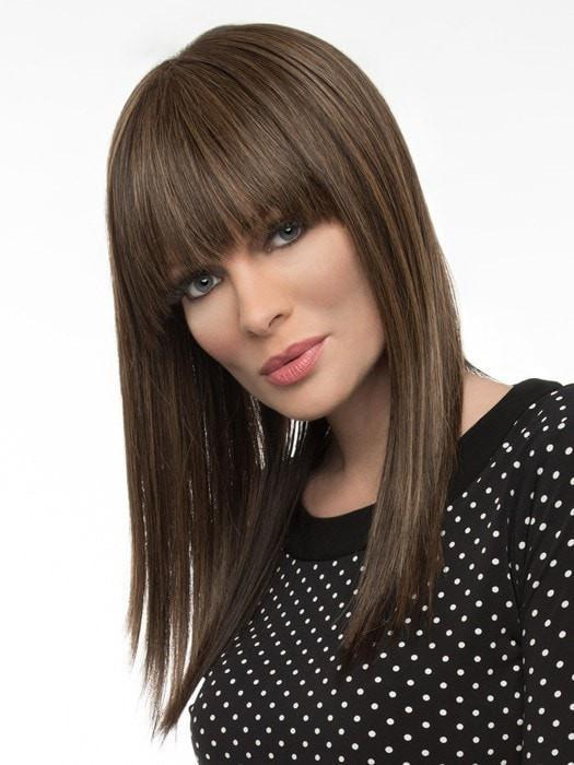 TARYN by Envy Wigs in 10 MEDIUM BROWN | Medium Brown Wig with natural highlights