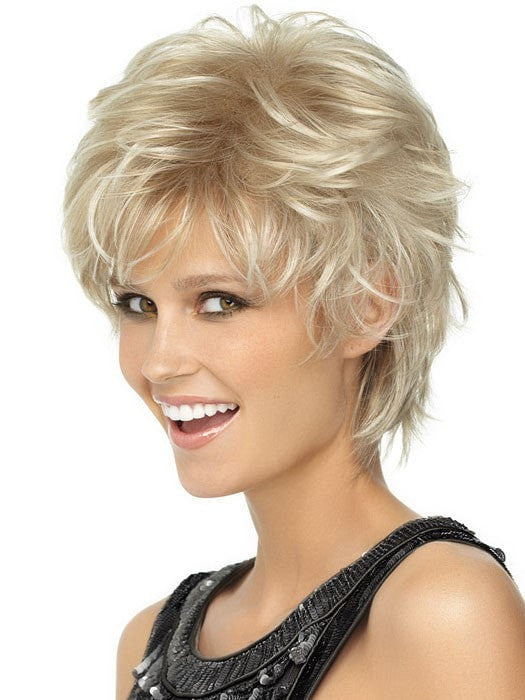 Color SS14/88 = Golden Wheat: Med Blonde streaked w/ Pale Gold highlights & Med Brown roots | Spiky Cut Wig by Wig Pro