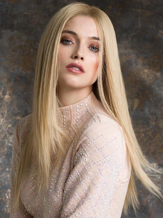 Straight, Platinum Blonde Human Hair Wig in Color Champagne/Rooted