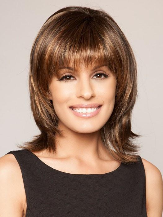 INFATUATION [Not Hand-Tied] by Raquel Welch in SS829S+ SHADED HAZELNUT | Rich Medium Brown Evenly Blended with Ginger Blonde Highlights with dark roots