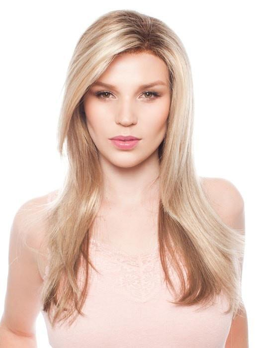 ZARA by Jon Renau in 12FS8 SHADED PRALINE |  Light Gold Blonde and Pale Natural Blonde Blend, Shaded with Dark Brown