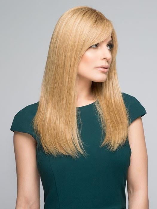 Human hair colors may run a little lighter than synthetic colors | Color: 14/26S10 Light gold blonde & Medium red gold blonde shaded with lighter brown roots