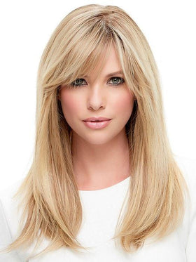 Blonde Human Hair Wig with Bangs by Jon Renau in Color SHADED PRALINE