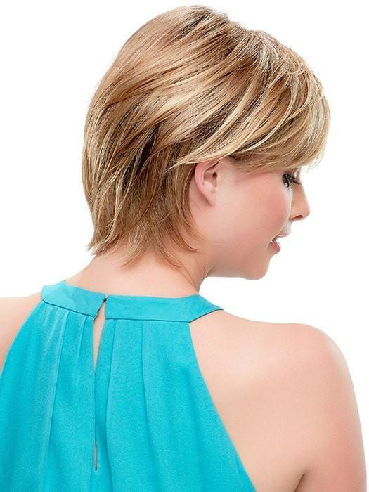 Tapered Neckline | | Color: 14/26S10 Light Gold Blonde and Medium Red Gold Blonde Blend and Light Brown Roots