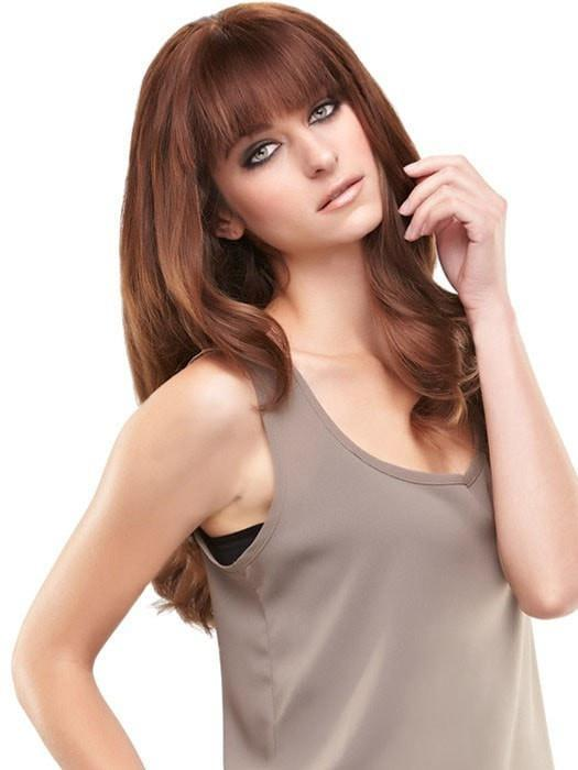A face framing fringe that can be custom cut to achieve any bang look