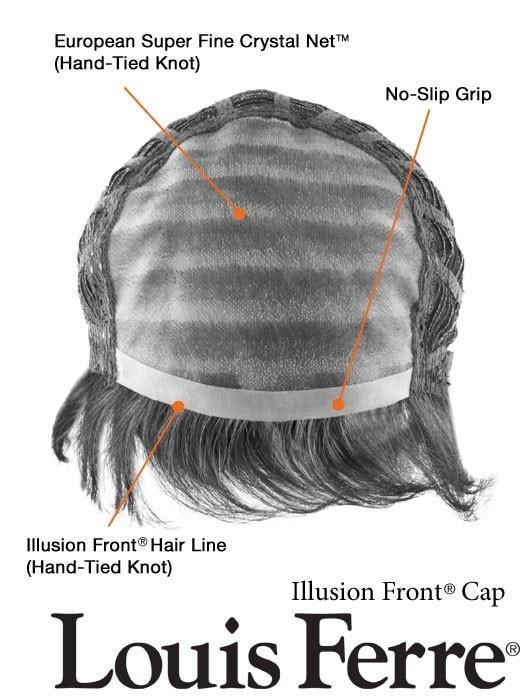 Monofilament Top for styling versatility, see cap construction details