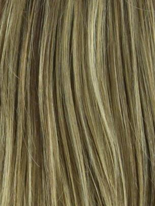 Color Butter-Pecan = Rooted Dark with a Light Golden Blonde base with Brown and Medium Auburn 50/50 blend lowlights