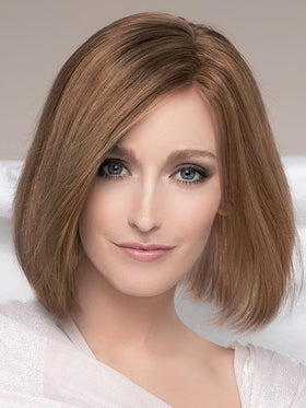 PRESTIGE by ELLEN WILLE in MOCCA ROOTED | Medium Brown, Light Brown, and Light Auburn Blend with Dark Roots