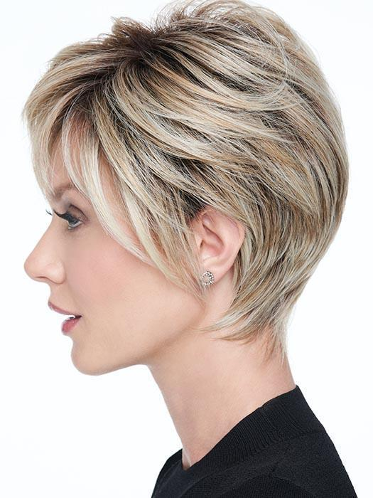The slightly asymmetrical razor cut fringe adds an air of sophistication while the Sheer Indulgence lace front monofilament part affords added styling options