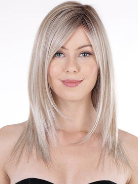 STRAIGHT PRESS 18 by BELLETRESS in BUTTERBEER-BLONDE | Cool Light Blonde, Light Ash Blonde, and Golden Blonde with Medium Brown Roots