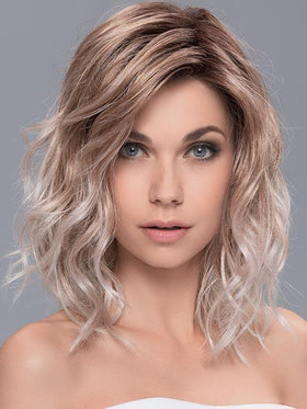 TOUCH by ELLEN WILLE in CANDY BLONDE ROOTED | Pearl platinum blonde mixed with light reddish brown and pure white