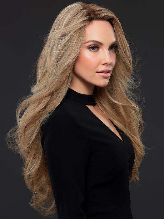 KIM by JON RENAU in 12FS12 MALIBU BLONDE | Lt Gold Brown, Lt Natural Gold Blonde & Pale Natural Gold-Blonde Blend, Shaded w/ Lt Gold Brown