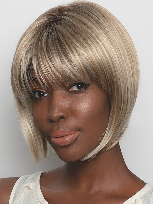 The Angie Wig by Rene of Paris is a short bob with face-framing side pieces and beautiful bangs.