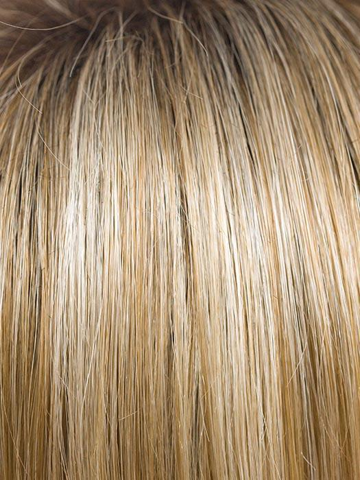 CREAMY-TOFFEE-R | Dark roots with light platinum blonde and light honey blonde