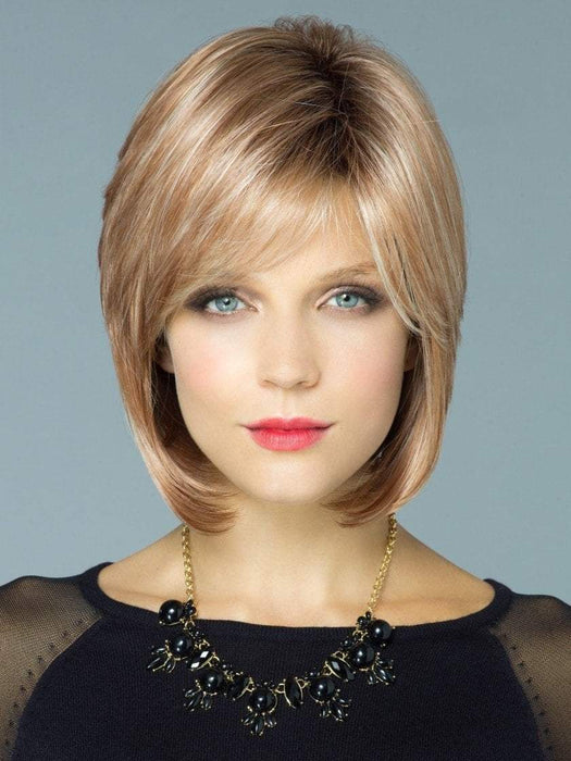 CAMERON by Rene of Paris in NUTMEG-R | Rooted dark with honey brown base with platinum blonde highlight