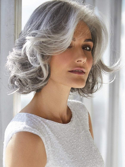 AMAL by Rene of Paris in SILVER-STONE | Silver Medium Brown blend that transitions to more Silver then Medium Brown then to Silver Bangs