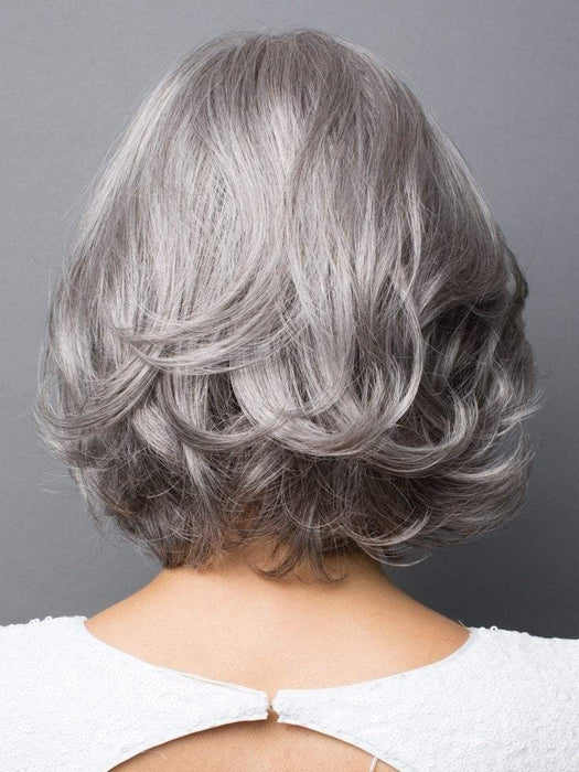 SILVER-STONE | Medium Brown and Silver blend that transitions to more Silver Light Ash Brown to Silver Bangs