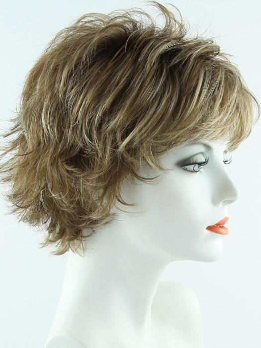 Color Maple Sugar R=Rooted Dark with Light Honey Brown base with Strawberry Blonde highlights