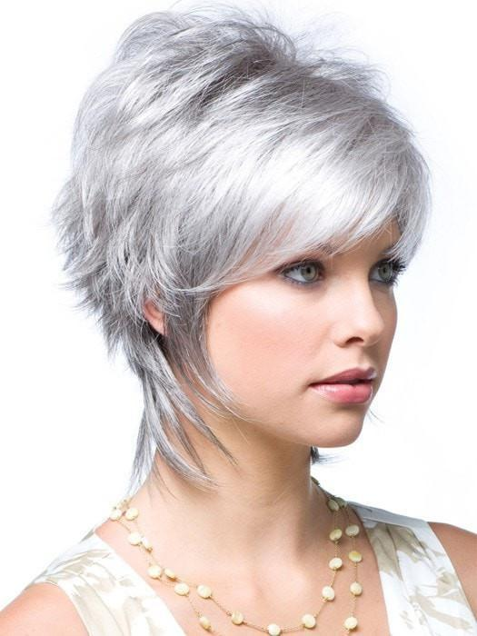 MILLIE by Noriko in SILVER STONE  | Silver Medium Brown Blend That Transitions To More Silver Then Medium Brown Then To Silver Bangs