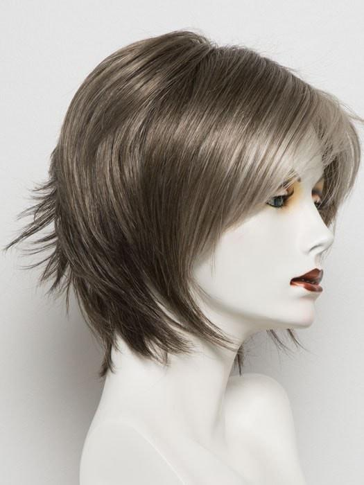 SANDY SILVER | Medium Brown Transitionally Blending to Silver and Dramatic Silver Bangs