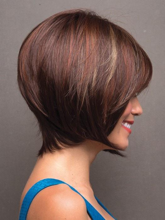 Color Razberry-Ice-R = Rooted Dark Medium Auburn base with Copper and Strawberry Blonde highlights