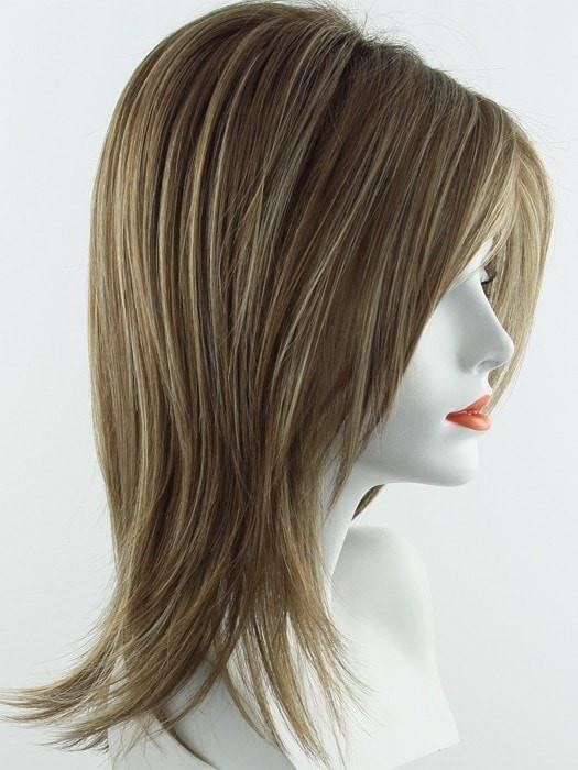 Color Maple Sugar R = Rooted Dark with Light Honey Brown base with Strawberry Blonde highlights
