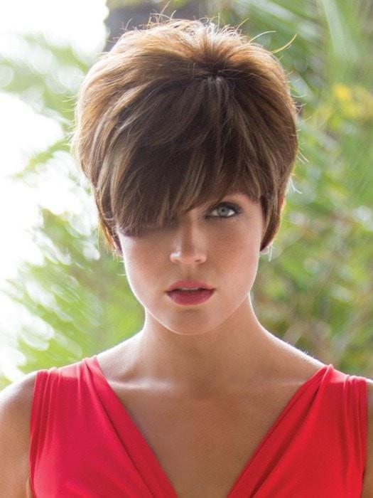 Short and cropped at the neckline, but still provides volume at the crown and coverage along the hairline.