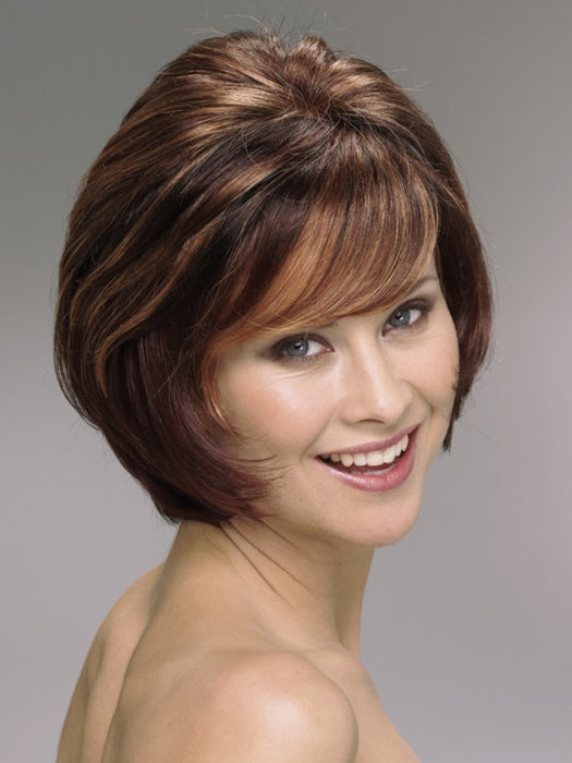 Color R3329S = Glazed Auburn: Rich dark reddish brown with pale peach blonde highlights