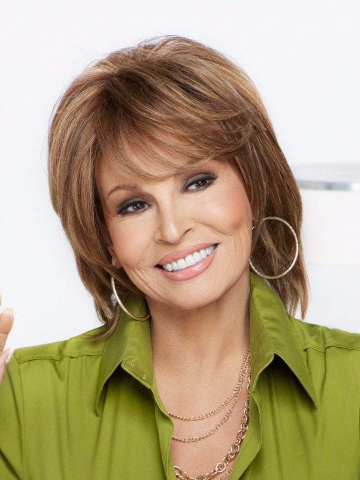 Color R3025S+ = Glazed Cinnamon: Med Red Brown w/ Ginger Highlights on Top | On Cue by Raquel Welch