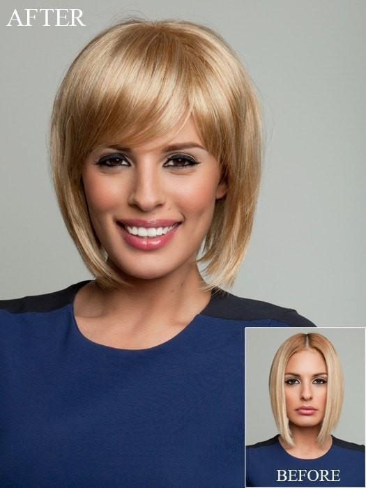Raquel Welch Faux Fringe - Before and After photo