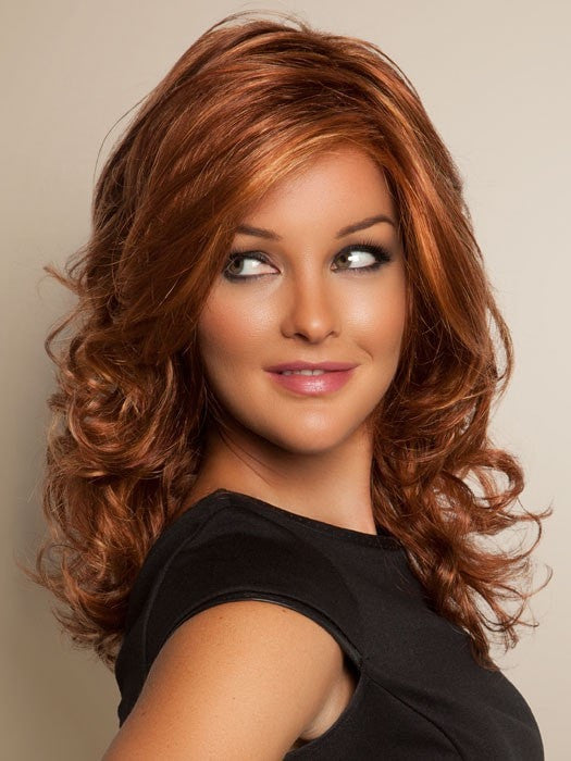 Color R28S+ = Glazed Fire: Fiery Red with Bright Red Highlights | Freestyle by Raquel Welch
