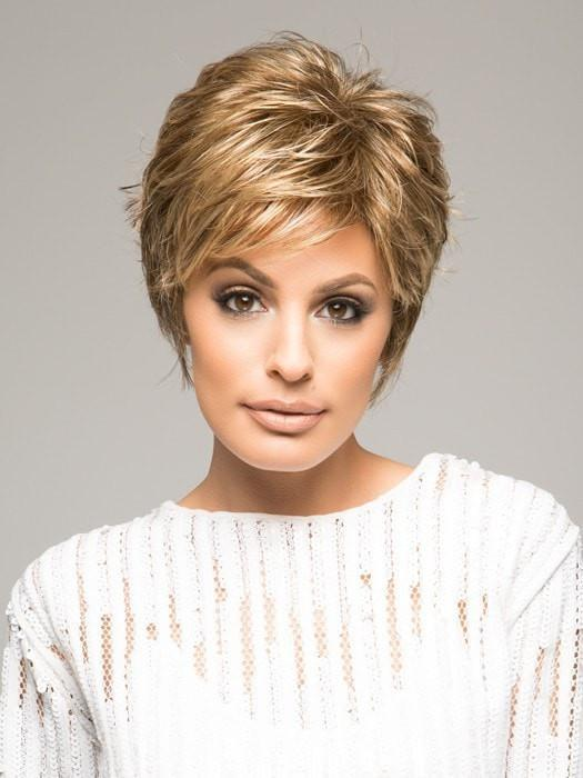 Raquel Welch SPARKLE in R11S+ GLAZED MOCHA | Warm Medium Brown with Golden Blonde Highlights on Top