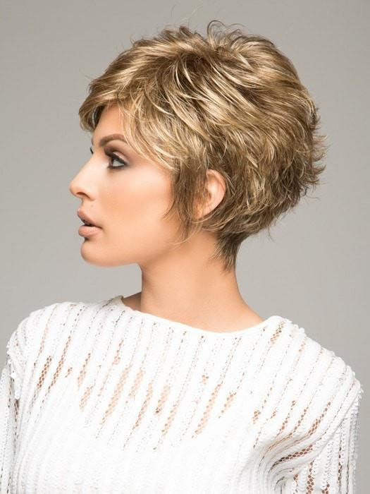 This short, face-framing cut includes a smooth front and top that blend into textured layers throughout the back and sides